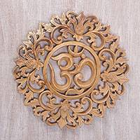 Wood wall relief panel, 'Om Bouquet' - Hand Carved Balinese Om Motif Wood Wall Relief Panel