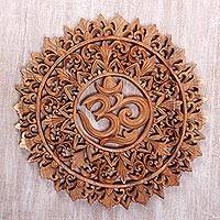 Wood relief panel, 'Florid Om' - Om Symbol Carved Wood Wall Relief Panel from Bali