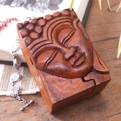 Wood puzzle box, 'Glory of Buddha' - Hand Carved Buddha Motif Puzzle Box from Bali