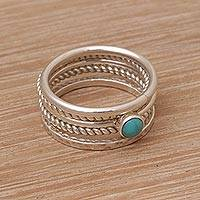 Sterling silver stacking rings, 'Alignment' (set of 5) - Handmade 925 Sterling Silver Turquoise Stacking Ring
