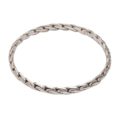 Sterling Silver Bangle Bracelet with Chain-Like Look