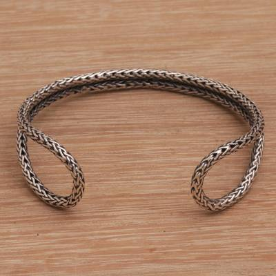Sterling silver cuff bracelet, 'Life Wire' - Handmade 925 Sterling Silver Cuff Bracelet Made in Indonesia