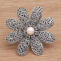Cultured pearl floral brooch, 'Starlight Flower' - Handmade 925 Sterling Silver Cultured Pearl Floral Brooch