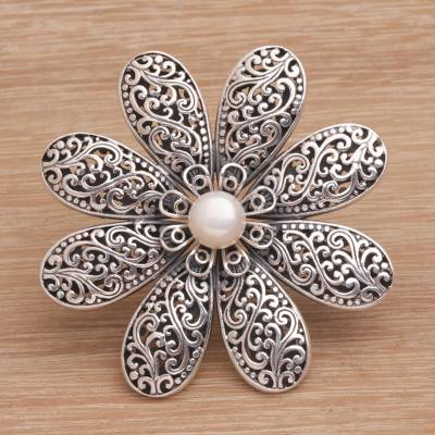 Cultured pearl brooch, 'Starlight Flower' - Handmade 925 Sterling Silver Cultured Pearl Floral Brooch