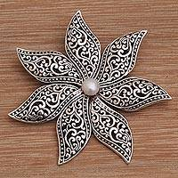 Cultured pearl brooch pin, 'Balinese Razor Flower' - Handmade Sterling Silver and Cultured Pearl Flower Brooch
