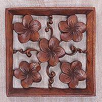Wood relief panel, 'Frangipani Square' - Hand Carved Frangipani Flower Relief Panel from Bali