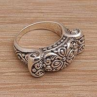 Sterling silver cocktail ring, 'Ancient Scroll' - Ornate Sterling Silver Ring from Bali Artisan