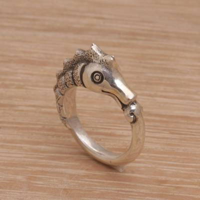Sterling silver band ring, 'Kuda Laut' - Sterling Silver Seahorse Motif Ring from Bali