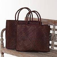 Pandan leaf shopping bags, 'Tropical Outing' (pair) - Woven Pandan Leaf Shopping Tote Bags (Pair)
