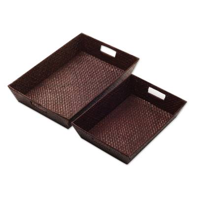 Brown Pandan Leaf Hand Woven Baskets (Pair)