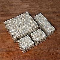 Pandan leaf boxes, 'Java Legacy' - Lined Woven Pandan Leaf Boxes from Java (Set of 4)