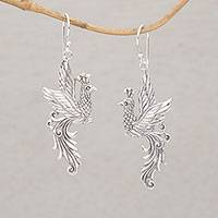 Sterling silver dangle earrings, 'Merak Majesty' - Peacock Motif Sterling Silver Dangle Earrings