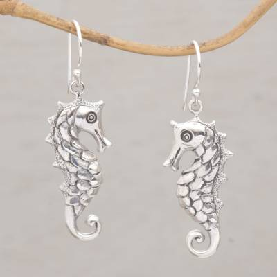 Sterling silver dangle earrings, 'Friendly Seahorse' - Seahorse Motif Dangle Earrings in Sterling Silver