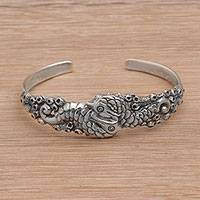 Sterling silver cuff bracelet, 'Seahorse Family' (Indonesia)