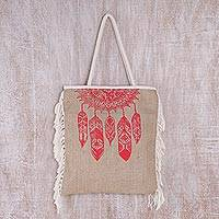 Jute tote bag, 'Dream Wanderer in Strawberry' - Handmade Balinese Jute Tote Bag with Red Dream-Catcher Motif