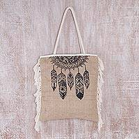 Jute tote bag, 'Dream Wanderer in Black' - Handmade Jute Tote Bag with Black Dream-Catcher Motif