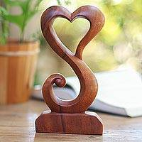 Wood statuette, 'Tangled Love' - Hand Crafted Suar Wood Open Heart Statuette Home Decor