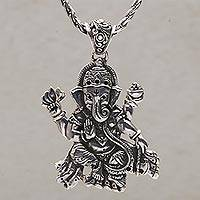 Sterling silver pendant necklace, 'Ganesha Semedi' - Large Ganesha Pendant Necklace on Braided Link Chain
