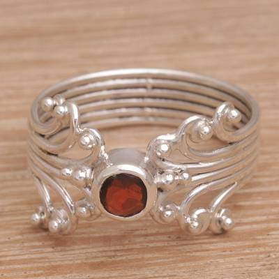 promise ring how to wear - Balinese Garnet and Sterling Silver Single Stone Ring