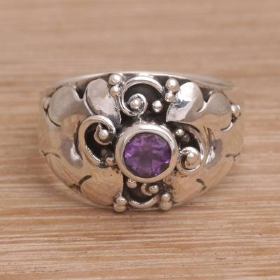 birthstone rings personalized - Balinese Sterling Silver and Amethyst Cocktail Ring