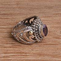 Gold-accented amethyst cocktail ring, 'Faithful Bloom' - Amethyst Sterling Silver 18k Gold Accented Cocktail Ring