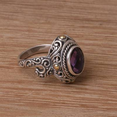 Gold accented amethyst cocktail ring, 'Peaceful Amethyst' - Handmade 925 Sterling Silver Gold Plated Amethyst Ring