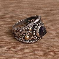 Gold-accented amethyst cocktail ring, 'Destiny Calls' - 18k Gold-Accented Silver and Amethyst Cocktail Ring