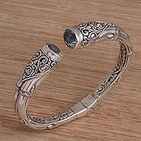 Blue topaz cuff bracelet Bamboo Sparkle (Indonesia)