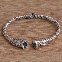Blue topaz cuff bracelet Gleaming Twist (Indonesia)