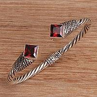 Garnet cuff bracelet, 'Square Swirls' - Square Garnet and Sterling Silver Cuff Bracelet from Bali
