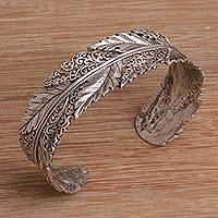 Sterling silver cuff bracelet, 'Flawless Leaves' - Leaf Motif Sterling Silver Cuff Bracelet from Bali