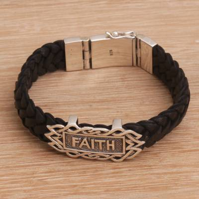 Men's sterling silver and leather wristband bracelet, 'All I Need is Faith' - Religious Sterling Silver and Leather Men's Bracelet