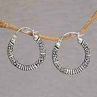 Sterling silver hoop earrings, 'Lightweight Feeling' - Artisan Crafted Sterling Silver Hoop Earrings from Bali