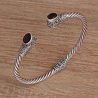 Garnet cuff bracelet, 'Eastern Ovals' (Indonesia)