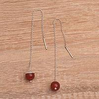 Carnelian threader earrings, 'Soaring Dawn' - Handmade Carnelian Threader Earrings 925 Sterling Silver