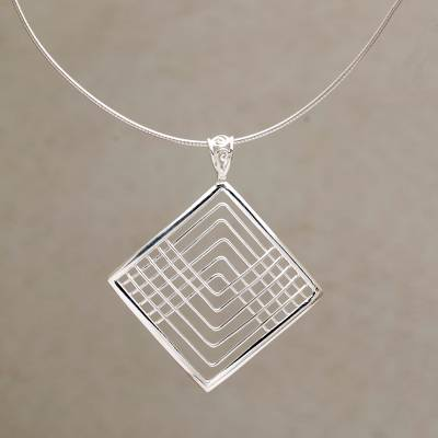 Sterling silver pendant necklace, Elegant Angles