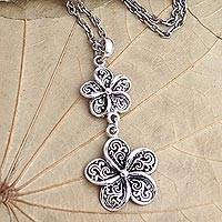 Sterling silver pendant necklace, 'Sacred Jasmine' - Handmade Sterling Silver Jasmine Flower Pendant Necklace