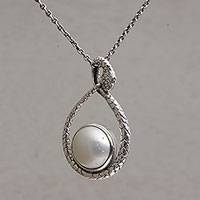 Cultured mabe pearl pendant necklace, 'Mother Snake' - Cultured Pearl and Sterling Silver Snake Pendant Necklace