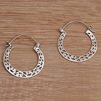 Sterling silver hoop earrings, 'Half Time' - Handmade Indonesian 925 Sterling Silver Horseshoe Earrings