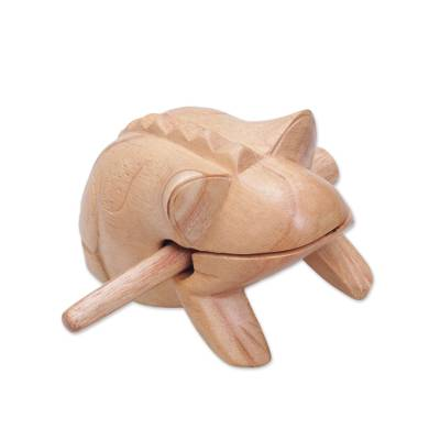 Wood percussion instrument, 'Croaking Melody' - Hand Carved Balinese Toad Suar Wood Percussion Instrument