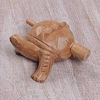 Wood mini percussion instrument, 'Tortoise Melody' - Hand Carved Wood Tortoise Percussion Instrument from Bali