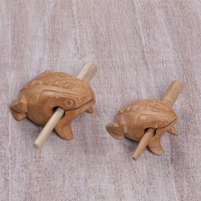 Wood percussion instruments, 'Frog Couple' (pair) - Handcarved Wood Frog Percussion Instruments from Bali