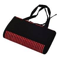 Mendong and cotton picnic mat, 'Poppy Desire' - Red and Black Mendong and Cotton Picnic Mat from Java