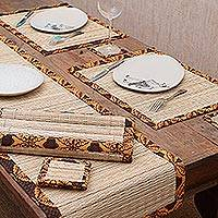 Pandanus and cotton batik table linen set 'Floral Dimensions' (set of 6) - Javanese Pandanus and Cotton Batik Floral Table Set for 6