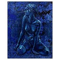 'Deja Vu' - Original Signed Javanese Blue Nude Painting
