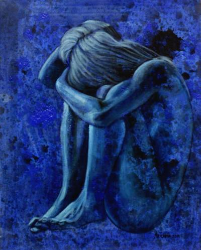 'Sensitivity of a Woman' - Original Signed Javanese Blue Nude Figure Study Painting