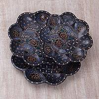 Wood batik decorative platters, 'Batik Petals' (set of 3) - Wood Batik Decorative Platters (Set of 3) from Java