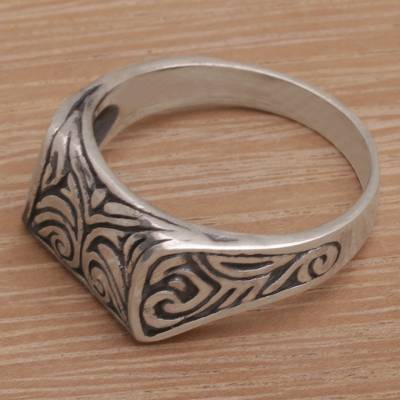 Sterling silver signet ring, 'Temple Entrance' - Handmade 925 Sterling Silver Engraved Balinese Temple Ring