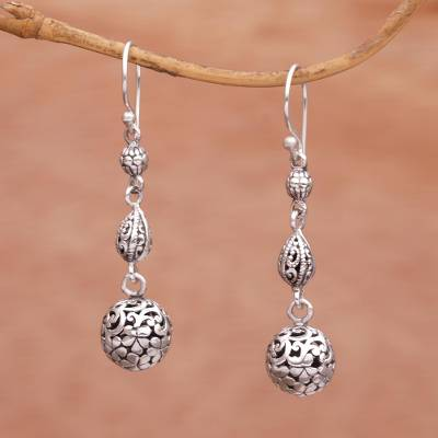 Sterling silver dangle earrings, 'Forest Orbs' - Indonesian Artisan Handmade 925 Sterling Silver Orb Earrings