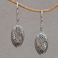 Gold accented sterling silver dangle earrings, 'Palatial Eternity' - 18k Gold Accented Sterling Silver Dangle Earrings from Bali